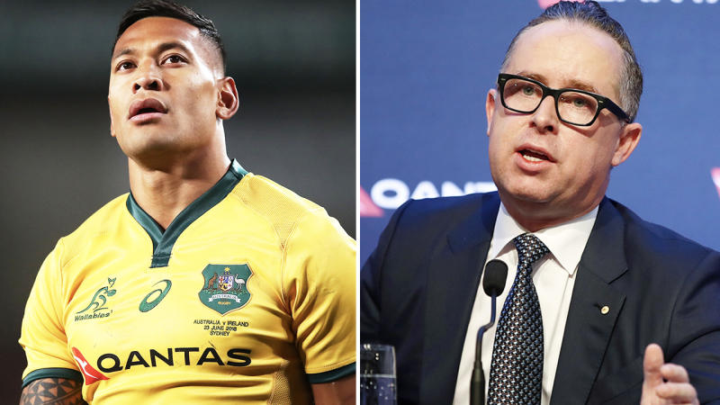Israel Folau and Alan Joyce, pictured here in 2019.