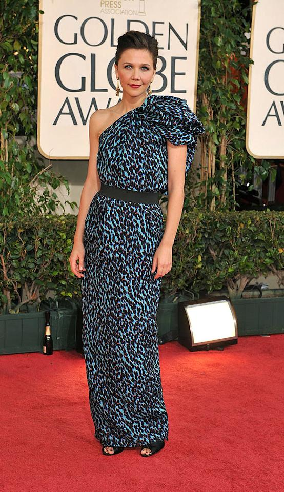 "Maggie Gyllenhaal should be caged for choosing this animal print atrocity from Lanvin's latest line. Steve Granitz/<a href=""http://www.wireimage.com"" target=""new"">WireImage.com</a> - January 11, 2009"