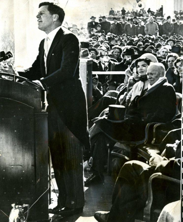 John F. Kennedy speaks in a morning jacket at his 1961 inauguration. Photo: Getty Images