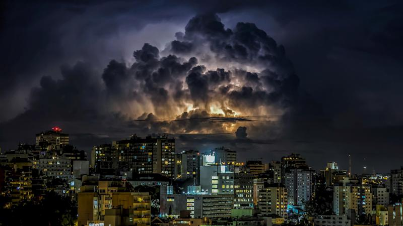 Rio Grande do Sul, Brazil. Supercell on the Moinhos de Vento neighborhood in the city of Porto Alegre.