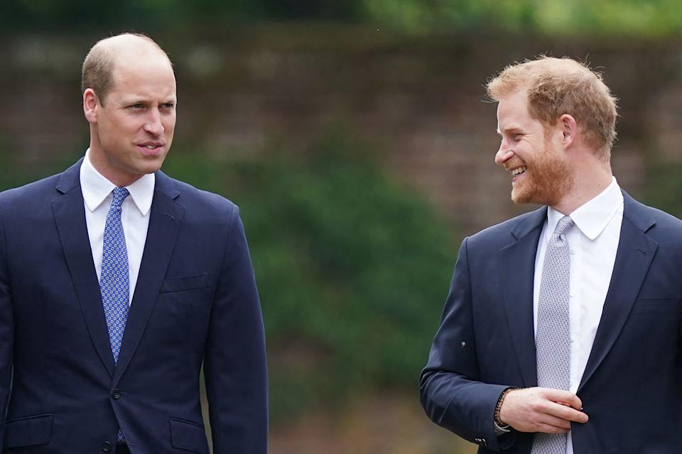 Britain's Prince William, Duke of Cambridge, (L) and Britain's Prince Harry, Duke of Sussex, arrive for the unveiling of a statue of their mother, Princess Diana at The Sunken Garden in Kensington Palace, London on July 1, 2021, which would have been her 60th birthday. - Princes William and Harry set aside their differences on Thursday to unveil a new statue of their mother, Princess Diana, on what would have been her 60th birthday. (Photo by Yui Mok / POOL / AFP) (Photo by YUI MOK/POOL/AFP via Getty Images)