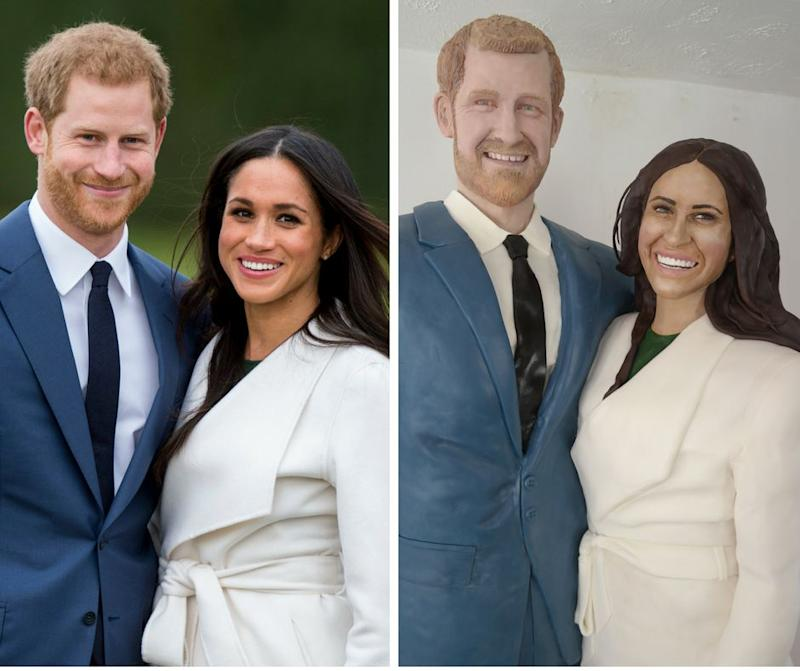 """<a href=""""https://www.facebook.com/LaraMasonCakeArt/"""" target=""""_blank"""">Cake artist Lara Mason</a>based her cake on photos of Prince Harry and Meghan Markle when they announced their engagement."""