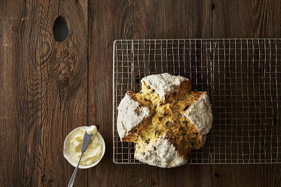 """<p>Is it really St. Paddy's Day if you don't eat some soda bread? For the ultimate holiday feast, pair this quintessential Irish side with some corned beef and cabbage. </p><p><em><a href=""""https://www.goodhousekeeping.com/recipefinder/soda-bread-1578"""" rel=""""nofollow noopener"""" target=""""_blank"""" data-ylk=""""slk:Get the recipe for Soda Bread »"""" class=""""link rapid-noclick-resp"""">Get the recipe for Soda Bread »</a></em> </p>"""