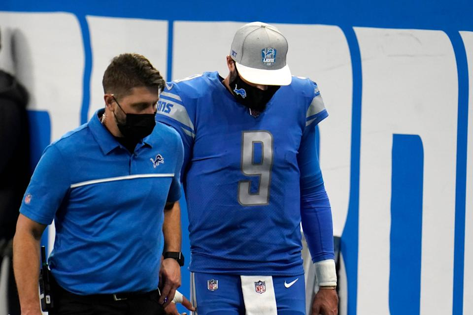 Detroit Lions quarterback Matthew Stafford (9) walks off the field during the second half of an NFL football game against the Green Bay Packers, Sunday, Dec. 13, 2020, in Detroit.