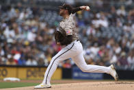 San Diego Padres starting pitcher Joe Musgrove delivers to an Atlanta Braves batter in the first inning of a baseball game Sunday, Sept. 26, 2021, in San Diego. (AP Photo/Derrick Tuskan)