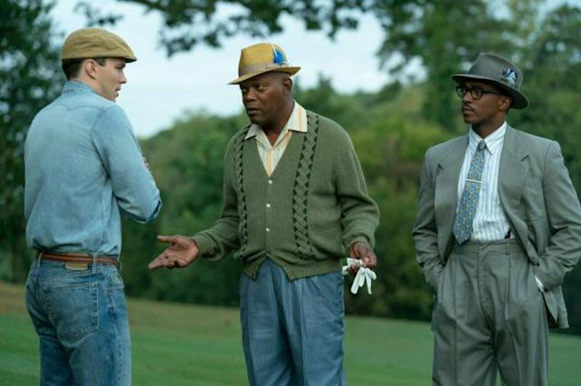 Nicholas Hoult, Samuel L. Jackson and Anthony Mackie in The Banker (Credit: Apple)