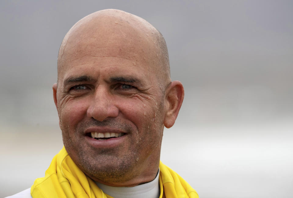FILE - Surfer Kelly Slater is shown after surfing during an Olympic exhibition at the USA Surfing Junior championships at the Lower Trestles in San Clemente, Calif., in this Tuesday, June 22, 2021, file photo. Slater, at 49 years old, is likely the oldest and most famous Olympic alternate. (Keith Birmingham/The Orange County Register via AP, File)