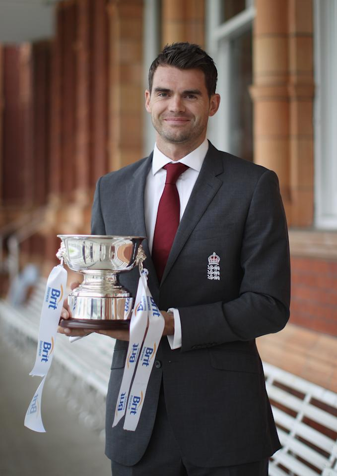 LONDON, ENGLAND - MAY 14:  James Anderson of England poses with the Mens Cricketer of the Year Award at the ECB Cricketer of the Year Dinner at Lord's Cricket Ground on May 14, 2012 in London, England.  (Photo by Tom Shaw/Getty Images)