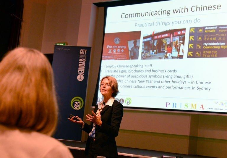 Charlotta Oberg (C) leads a ChinaConnect workshop in Sydney on November 27, 2012. Practical workshops are being run to help businesses attract, and satisfy, Chinese clients with advice ranging from employing Mandarin-speaking staff to using feng shui to attract shoppers