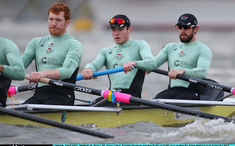 James Letten, Freddie Davidson and Ben Ruble of Cambridge race against the Italian national crew during the 2017 Cancer Research Boat Boat Races Training Fixture on March 18, 2017  - Credit: Jordan Mansfield/Getty Images