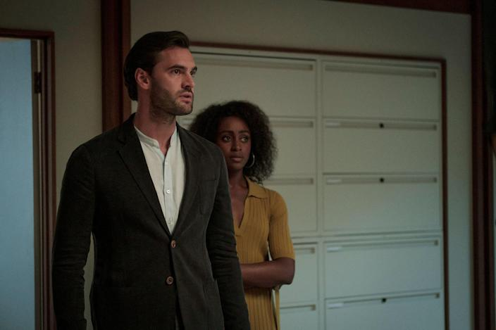 """<p>Creepy doesn't begin to describe the limited series, <strong>Behind Her Eyes</strong>, starring Simona Brown, Eve Hewson, and Tom Bateman. Based on Sarah Pinborough's bestselling psychological thriller, this mystery series is about a single mother, who enters a world of twisted mind games when she begins an affair with her psychiatrist boss while secretly befriending his wife. Don't watch at night!</p> <p><a href=""""https://www.netflix.com/title/80244630"""" class=""""link rapid-noclick-resp"""" rel=""""nofollow noopener"""" target=""""_blank"""" data-ylk=""""slk:Watch Behind Her Eyes on Netflix"""">Watch <strong>Behind Her Eyes</strong> on Netflix</a>.</p>"""