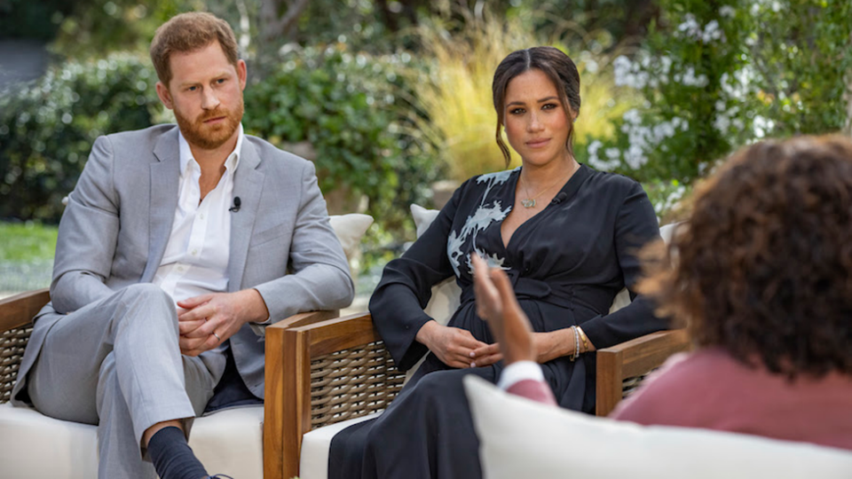 Meghan Markle and Prince Harry opened up in an explosive tell-all interview with Oprah. Photo: CBS.
