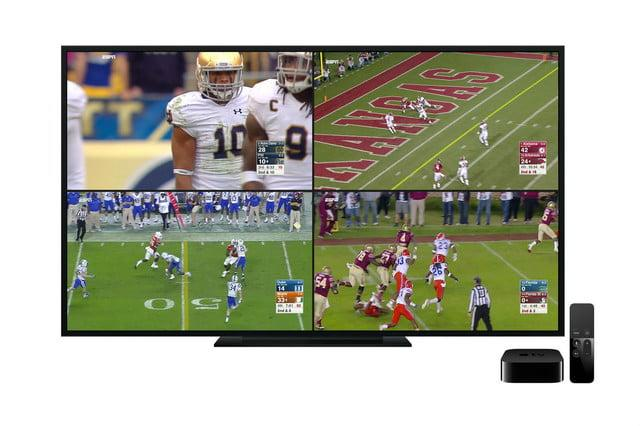 The ESPN app update for Apple TV's tvOS software allows you to stream four different live events at once. Choose from over 30 different live sporting events airing across ESPN's networks.