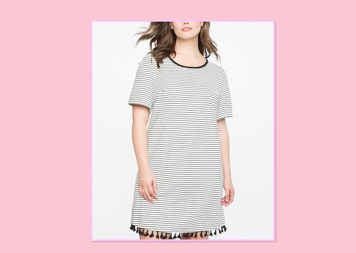 "<p>If shorts aren't your thing, have no fear! This Kimye-inspired trend is super-comfortable and easy to wear, and it comes in a range of hues and the occasional cutout rocker print. <br />Striped Tee Dress With Tassel Hem, $100, <a rel=""nofollow"" href=""http://www.eloquii.com/striped-tee-dress-with-tassel-hem/1234777.html?q=stripes&prefn1=sizeFamily&start=3&dwvar_1234777_colorCode=150&prefv1=18"">Eloquii</a> </p>"