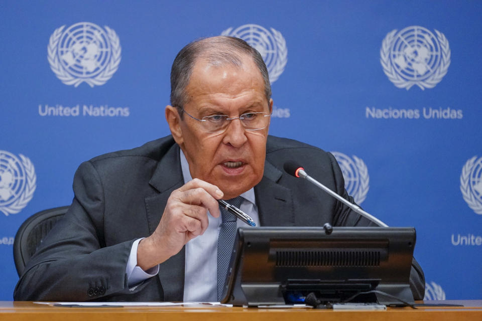 Russian Foreign Minister Sergey Lavrov speaks to reporters during a news conference during 76th session of the United Nations General Assembly, Saturday, Sept. 25, 2021 at United Nations headquarters. (AP Photo/Mary Altaffer)
