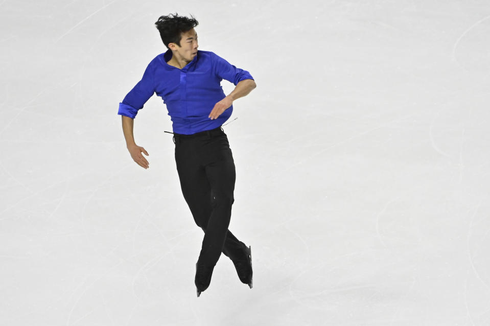 Nathan Chen, of the United States, competes during men's free skating program in the International Skating Union Grand Prix of Figure Skating Series, Saturday, Oct. 24, 2020, in Las Vegas. (AP Photo/David Becker)