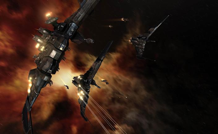 """FILE - This undated publicity file image provided by CCP Games shows a screenshot from the game """"EVE Online."""" An unpaid bill in the online role-playing game """"EVE Online"""" has led to a virtual space battle involving thousands of players with costly losses in real-world money. The siege on Monday, Jan. 27, 2014, marks the bloodiest battle in the game's 10-year history. (AP Photo/CCP Games, File)"""
