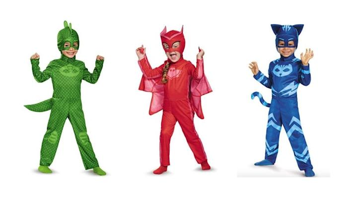 A trio of pajama-clad crime fighters is a great costume option for siblings.