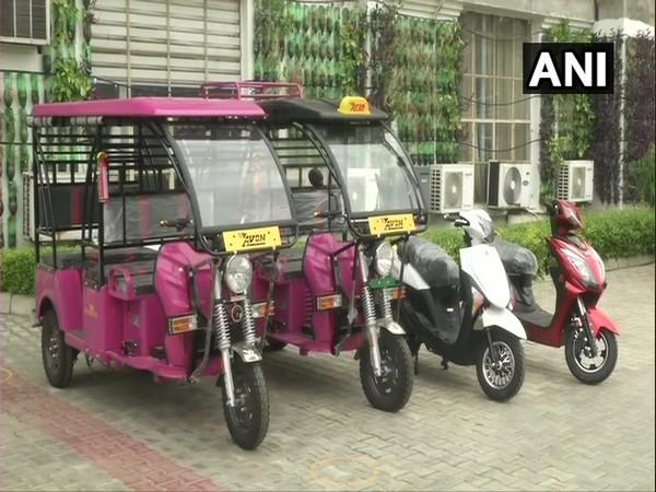 E-vehicles on display in Punjab's Ludhiana. (Photo/ANI)