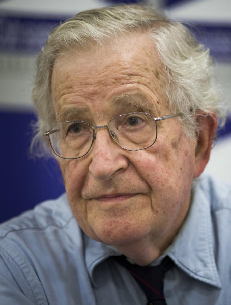 Noam Chompsky, U.S linguist and political critic, during a talk at the press club in Geneva, Switzerland, Friday, July 26, 2013. Chomsky has become well known for his critiques of U.S. foreign policy, state capitalism and the mainstream news media. (AP Photo/Anja Niedringhaus)