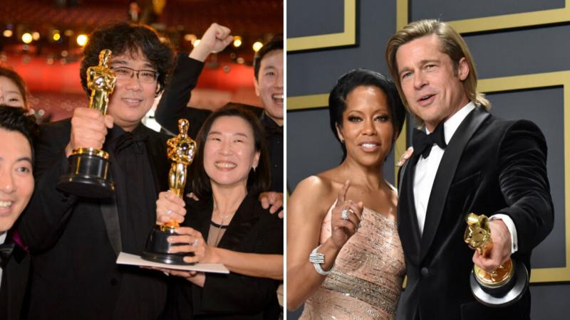 The cast of Parasite and director Bong Joon Ho celebrating their Oscar wins on the left, Brad Pitt and Regina King at the Academy Awards on the right.