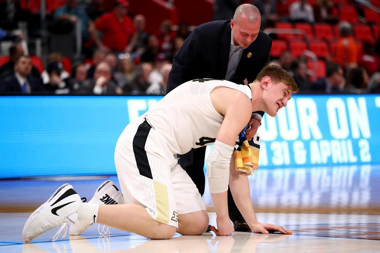 Isaac Haas suffered a broken elbow in Purdue's NCAA tournament win over Cal State Fullerton. (Getty)