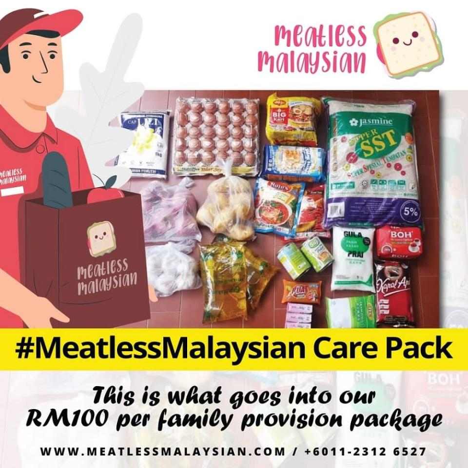 Meatless Malaysian care pack that is distributed to migrant workers and unemployed people around KL. ― Picture via Facebook/MeatlessMalaysian
