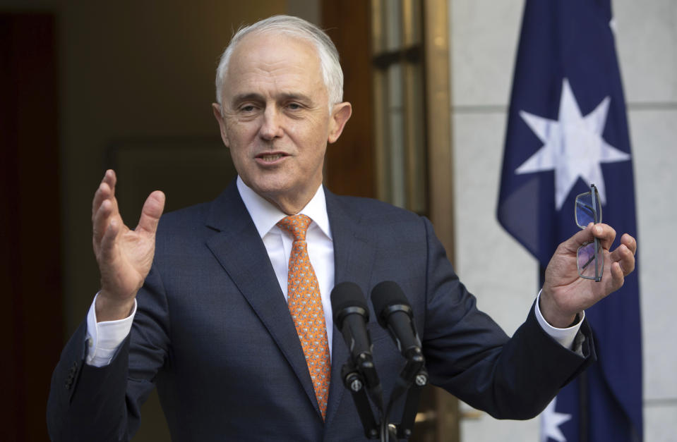 Outgoing Australian Prime Minister Malcolm Turnbull speaks during his final press conference.