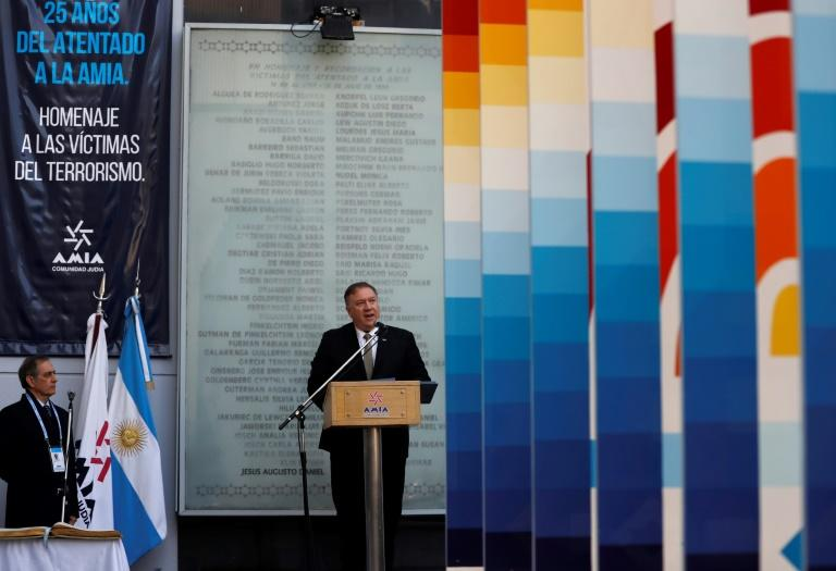 US Secretary of State Mike Pompeo speaks during a ceremony marking the 25th anniversary of the bombing at the Asociacion Mutual Israelita Argentina (AFP Photo/NATACHA PISARENKO)