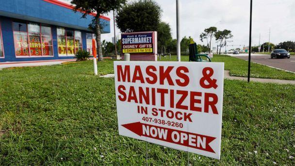 PHOTO: The Kash & Karry Supermarket gift shop located near the Walt Disney World theme park is selling masks and hand sanitizers for customers on July 11, 2020, in Lake Buena Vista, Fla. (Octavio Jones/Getty Images)