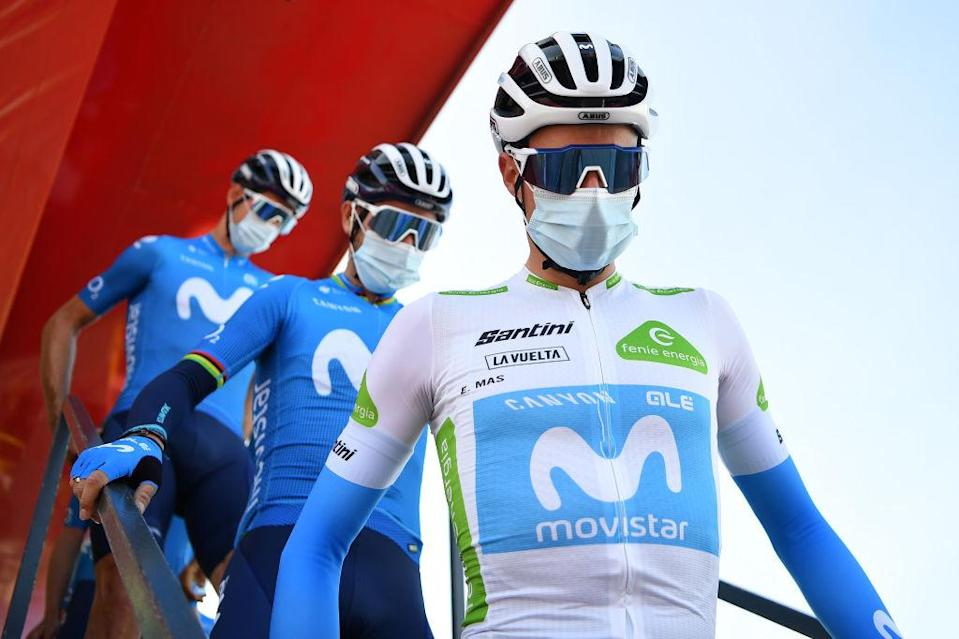 SABIANIGO SPAIN  OCTOBER 24 Start  Enric Mas Nicolau of Spain and Movistar Team  Alejandro Valverde Belmonte of Spain and Movistar Team  Mask  Covid safety measures  Team Presentation  during the 75th Tour of Spain 2020 Stage 5 a 1844km Huesca to Sabinigo 835m  lavuelta  LaVuelta20  La Vuelta  on October 24 2020 in Sabinigo Spain Photo by Justin SetterfieldGetty Images