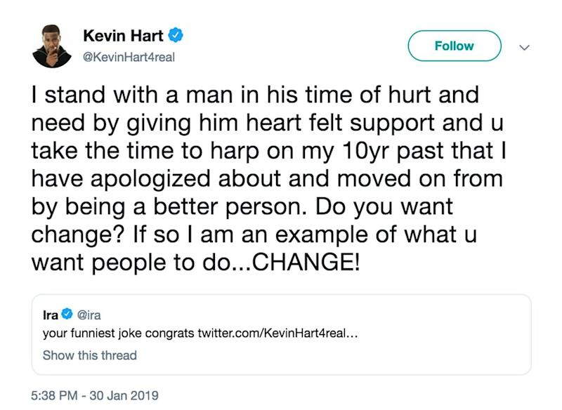 Kevin Hart Responds to Backlash Over Jussie Smollett Tweets