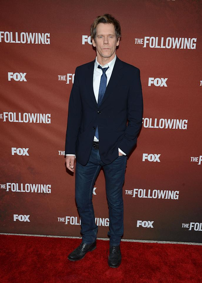 "NORTH HOLLYWOOD, CA - APRIL 29:  Actor Kevin Bacon attends the screening of Fox's ""The Following"" at Leonard H. Goldenson Theatre on April 29, 2013 in North Hollywood, California.  (Photo by Jason Kempin/Getty Images)"