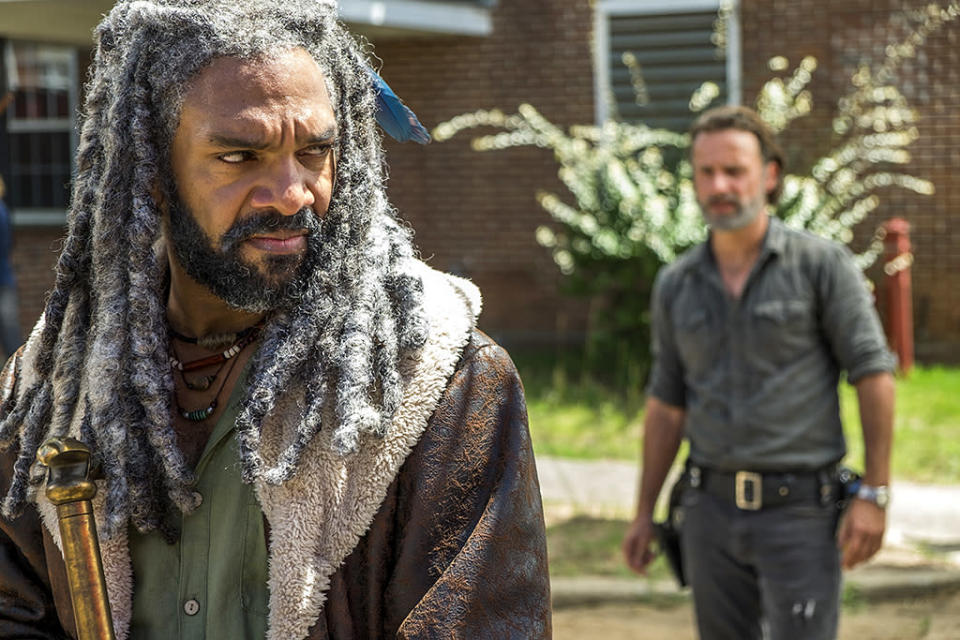 Khary Payton as Ezekiel and Andrew Lincoln as Rick Grimes in AMC's The Walking Dead.