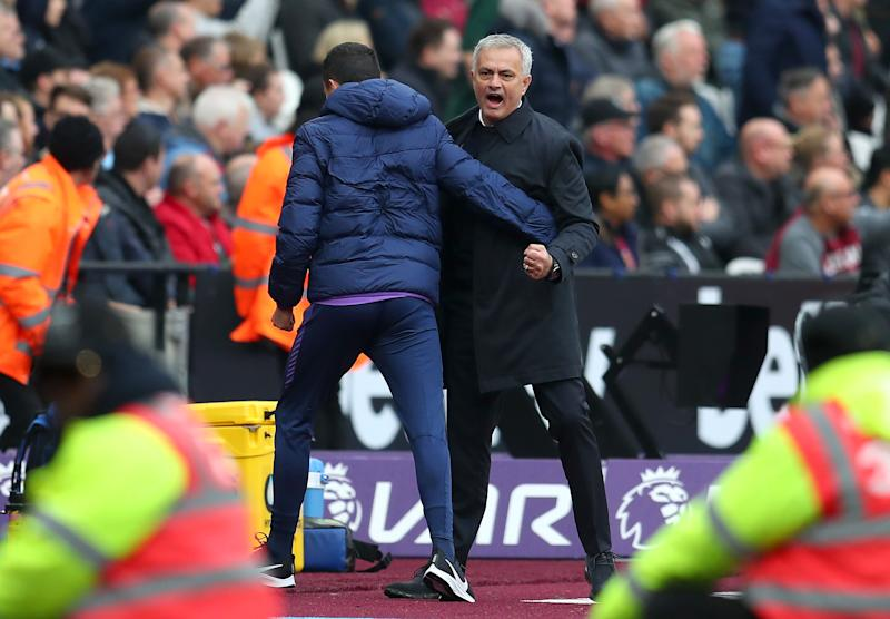 Jose Mourinho celebrates after Tottenham Hotspur's first goal against West Ham on Saturday. (Photo by Catherine Ivill/Getty Images)