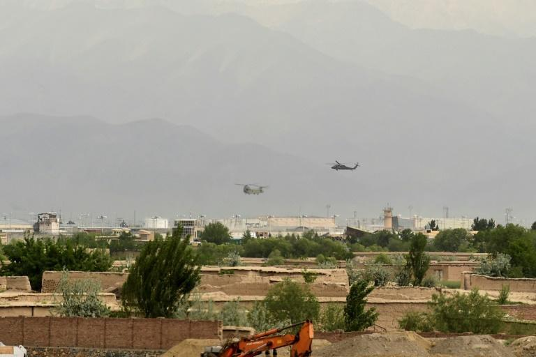 Helicopters land at the US military base in Bagram, Afghanistan