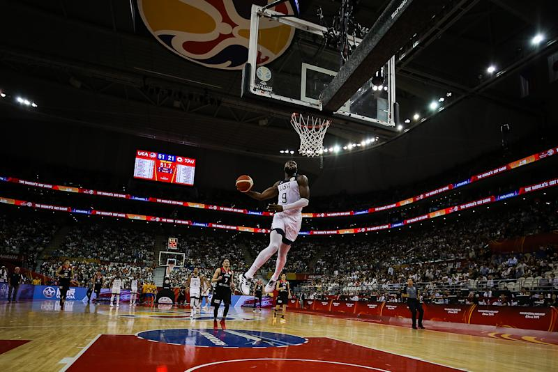 SHANGHAI, CHINA - SEPTEMBER 05: #9 Jaylen Brown of USA dunks during the 1st round match between USA and Japan of 2019 FIBA World Cup at Shanghai Oriental Sports Center on September 05, 2019 in Shanghai, China. (Photo by Yifan Ding/Getty Images)