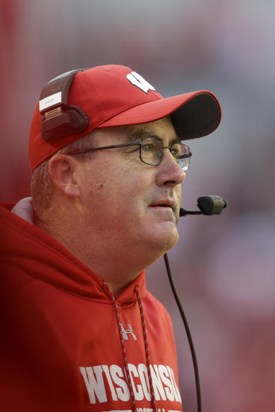 Wisconsin head coach Paul Chryst looks on during the second half of an NCAA college football game against Michigan State Saturday, Oct. 12, 2019, in Madison, Wis. Wisconsin won 38-0. (AP Photo/Andy Manis)