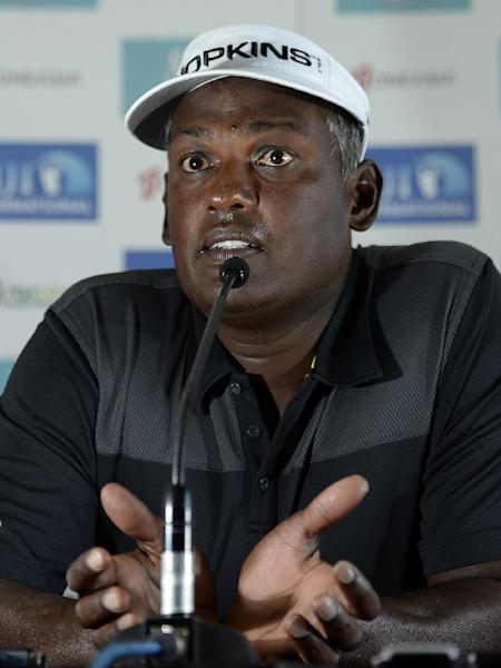 Fijian golfer Vijay Singh answers questions during a press conference in Nadi ahead of the Fiji International golf tournament, August 13, 2014 (AFP Photo/Paul Lakatos)