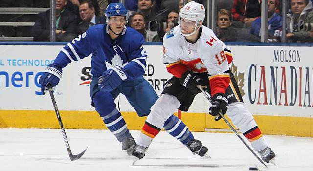 "Flames winger <a class=""link rapid-noclick-resp"" href=""/nhl/players/7114/"" data-ylk=""slk:Matthew Tkachuk"">Matthew Tkachuk</a> is facing a second suspension in less than a month for his antics in Wednesday's loss to the Maple Leafs.  (Photo by Claus Andersen/Getty Images)"