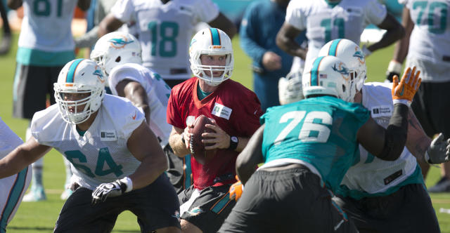 Miami Dolphins quarterback Ryan Tannehill, center, runs passing drills during NFL football training camp Friday, July 25, 2014, in Davie, Fla. (AP Photo)
