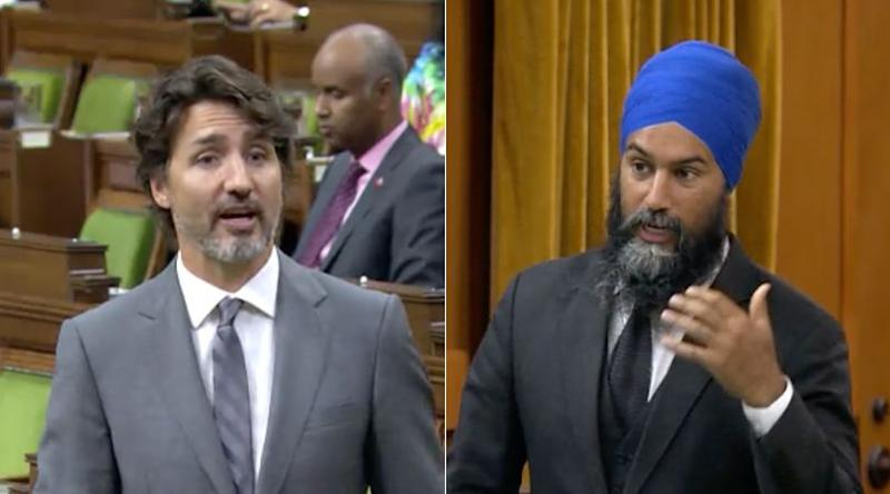 Prime Minister Justin Trudeau and NDP Leader Jagmeet Singh attend question period in the House of Commons on July 21, 2020. (Photo: ParlVu)