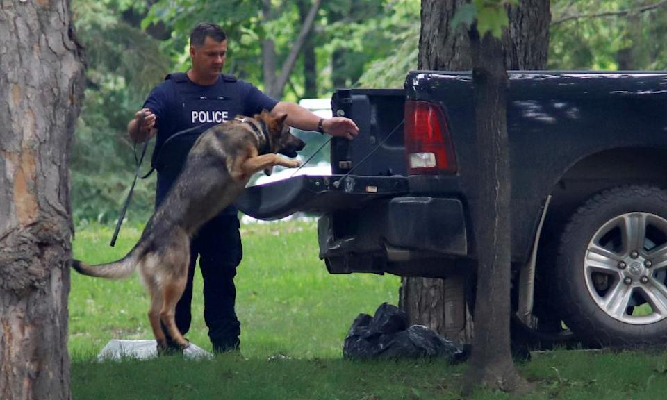 A police dog searches a vehicle at Rideau Hall.