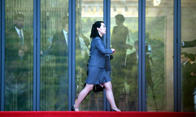 <p>North Korean leader Kim Jong Un's sister Kim Yo Jong walks at the truce village of Panmunjom inside the demilitarized zone separating the two Koreas, South Korea, April 27, 2018. (Photo: Korea Summit Press Pool/Pool via Reuters) </p>