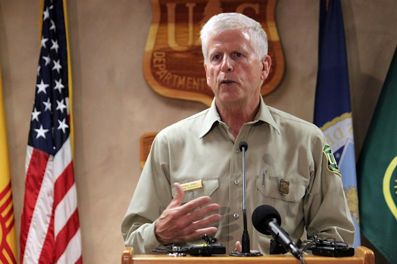 U.S. Forest Service Chief Tom Tidwell talks about the recent deadly crash of an air tanker that was helping fight a wildfire in Utah, during a news conference at the agency's Southwest regional headquarters in Albuquerque, N.M., on Tuesday, June 5, 2012. Tidwell also took an aerial tour of the 404-square-mile Whitewater Baldy fire burning in southwestern New Mexico, currently the largest blaze in the country. (AP Photo/Susan Montoya Bryan)