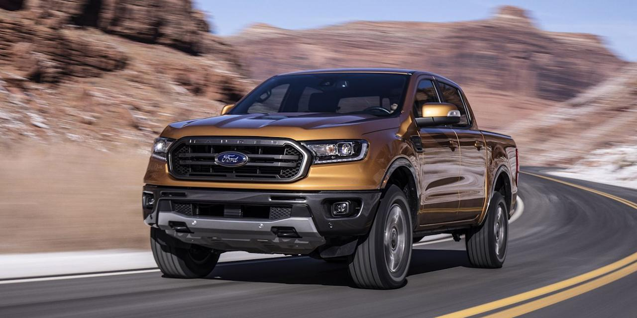 """<p>On the road, the new Ford feels modern and comfortable, cruising along calm and hushed in a way the old-school compact Ranger never could. The electric-assist rack-and-pinion steering is light and low-effort, with a slight dead spot right in the middle that, assumedly, helps to prevent the truck from feeling twitchy at highway speed. A max payload of 1860 lbs and a 7500-lb towing capacity demand serious shocks and springs. The new Ranger is rather busy over small road ripples, and lateral pavement imperfections like frost heaves or small speedbumps toss you around a bit. There's only so much good behavior you can coax out of a solid rear axle with leaf springs-the Ranger's front suspension is as smooth and refined as a crossover, it's the back end that reminds you that you're driving a pickup.</p><p>The truck is happiest with a little weight on it-cruising around with a 400-lb Yamaha YFZ 450R in the bed smoothed things out considerably, though the ATV took up every inch of the six-foot box that's only available with the short cab (four-door models make due with a five-foot box).</p><p><em>Check out the rest of our Ford Ranger first drive right <a href=""""https://www.roadandtrack.com/new-cars/first-drives/a25606827/2019-ford-ranger-first-drive-review/"""" target=""""_blank"""">here</a>. </em></p>"""