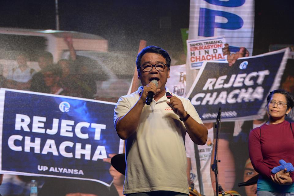 FILE PHOTO: Opposition senatorial candidate from the progressive block Neri Colmenares speaks during a miting de avance for the opposition senatorial candidates organized by civil society in Manila on May 10, 2019, ahead of the mod-term elections on May 13. (Source: TED ALJIBE / AFP)