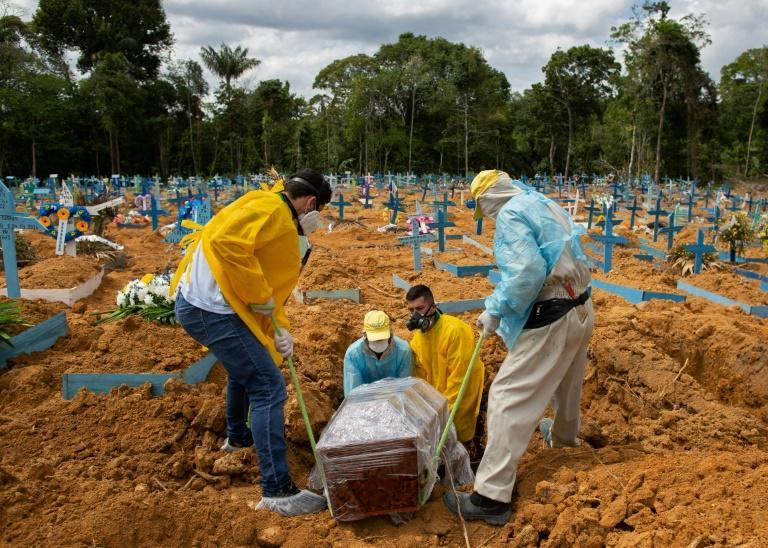 A burial takes place in an area reserved for COVID-19 victims at the Nossa Senhora Aparecida cemetery in Manaus, Brazil, on January 5, 2021
