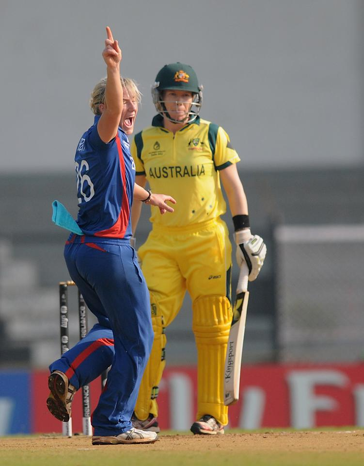 MUMBAI, INDIA - FEBRUARY 08:  Katherine Brunt of England appeals successfully for  the wicket of  Alexandra Blackwell of Australia during the super six match  between England and Australia held at the CCI (Cricket Club of India)  on February 8, 2013 in Mumbai, India.  (Photo by Pal Pillai/Getty Images)