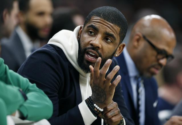 "<a class=""link rapid-noclick-resp"" href=""/nba/players/4840/"" data-ylk=""slk:Kyrie Irving"">Kyrie Irving</a> discusses difficulties of leading a young team and his phone conversation with former teammate <a class=""link rapid-noclick-resp"" href=""/nba/players/3704/"" data-ylk=""slk:LeBron James"">LeBron James</a>. (AP Photo/Michael Dwyer)"